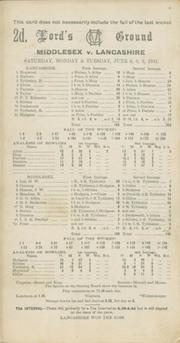 MIDDLESEX V LANCASHIRE 1931 CRICKET SCORECARD