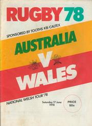 AUSTRALIA V WALES 1978 (2ND TEST) RUGBY PROGRAMME