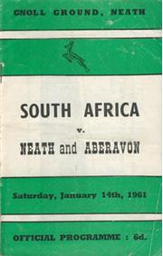 NEATH AND ABERAVON V SOUTH AFRICA 1961 RUGBY PROGRAMME