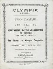 JOE BECKETT V GEORGES CARPENTIER 1923 BOXING PROGRAMME