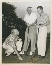 RICHARD NIXON, BILLY GRAHAM AND ELMER BOBST PLAYING GOLF AT SPRING LAKE GOLF AND COUNTRY CLUB 1956 PHOTOGRAPH