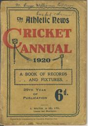 ATHLETIC NEWS CRICKET ANNUAL 1920
