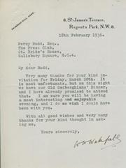 WAVELL WAKEFIELD (HARLEQUINS & ENGLAND) 1936 SIGNED LETTER