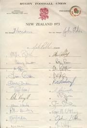 ENGLAND RUGBY TOUR TO NEW ZEALAND 1973 AUTOGRAPH SHEET
