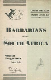 BARBARIANS V SOUTH AFRICA 1952 RUGBY PROGRAMME