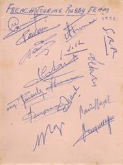 FRANCE TOUR TO SOUTH AFRICA 1958 RUGBY AUTOGRAPHS (FAMOUS FRENCH WIN)