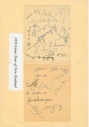 BRITISH LIONS RUGBY TOUR TO NEW ZEALAND 1959 AUTOGRAPHS