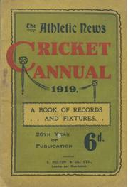 ATHLETIC NEWS CRICKET ANNUAL 1919