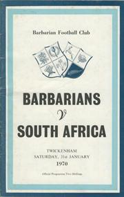 BARBARIANS V SOUTH AFRICA 1970 RUGBY PROGRAMME
