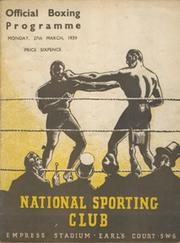 HARRY MIZLER V GEORGE ODWELL 1939 BOXING PROGRAMME