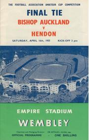 BISHOP AUCKLAND  V HENDON 1955 (AMATEUR CUP FINAL) FOOTBALL PROGRAMME