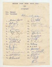 BRITISH LIONS TOUR TO SOUTH AFRICA 1962 AUTOGRAPH SHEET