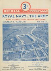 ROYAL NAVY  V THE ARMY 1951 RUGBY PROGRAMME