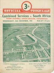 COMBINED SERVICES V SOUTH AFRICA 1951 RUGBY PROGRAMME