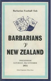 BARBARIANS V NEW ZEALAND 1974 RUGBY PROGRAMME