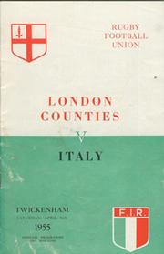 LONDON COUNTIES V ITALY 1955 (TWICKENHAM) RUGBY PROGRAMME