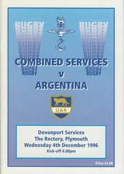 COMBINED SERVICES V ARGENTINA 1996 RUGBY PROGRAMME