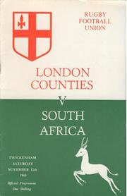 LONDON COUNTIES V SOUTH AFRICA 1960-61 RUGBY PROGRAMME
