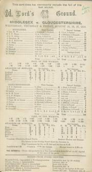 MIDDLESEX V GLOUCESTERSHIRE 1926 CRICKET SCORECARD