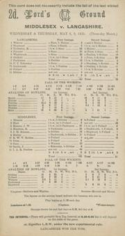 MIDDLESEX V LANCASHIRE 1935 CRICKET SCORECARD