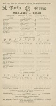 MIDDLESEX V ESSEX 1938 CRICKET SCORECARD