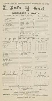 MIDDLESEX V NOTTINGHAMSHIRE 1938 CRICKET SCORECARD