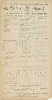 MIDDLESEX V GLOUCESTERSHIRE 1938 CRICKET SCORECARD