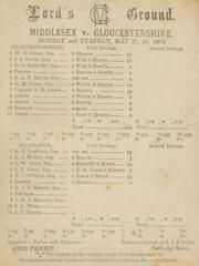 MIDDLESEX V GLOUCESTERSHIRE 1893 CRICKET SCORECARD - GRACE SCORED 96