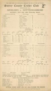 MIDDLESEX V NOTTINGHAMSHIRE 1939 (KEETON 312*) CRICKET SCORECARD