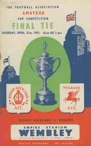 BISHOP AUCKLAND V PEGASUS 1951 AMATEUR CUP FINAL FOOTBALL PROGRAMME
