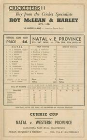 NATAL V EASTERN PROVINCE 1955-56 (CURRIE CUP) CRICKET SCORECARD