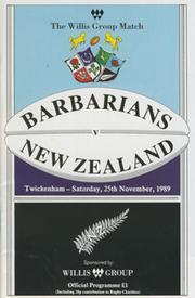 BARBARIANS V NEW ZEALAND 1989 RUGBY PROGRAMME
