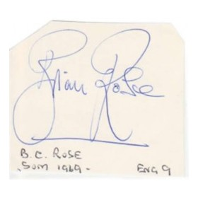 BRIAN ROSE CRICKET AUTOGRAPH