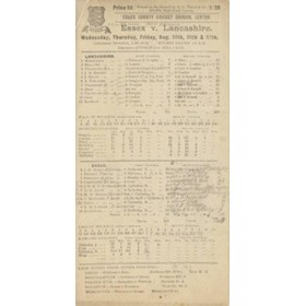 ESSEX V LANCASHIRE 1920 CRICKET SCORECARD