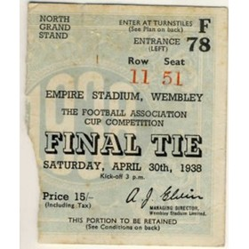 FA CUP FINAL 1938 HUDDERSFIELD V PRESTON TICKET