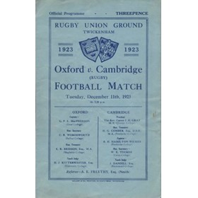 OXFORD V CAMBRIDGE 1923 RUGBY PROGRAMME