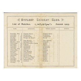 BYFLEET CRICKET CLUB (SURREY) 1903 FIXTURE CARD