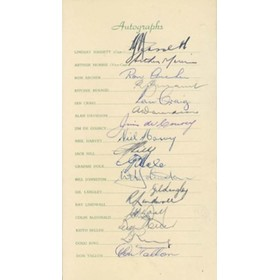AUSTRALIA 1953 SIGNED ITINERARY CARD