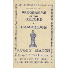 OXFORD V CAMBRIDGE 1924 SOUVENIR RUGBY PROGRAMME