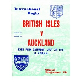 AUCKLAND V BRITISH ISLES 1971 RUGBY PROGRAMME