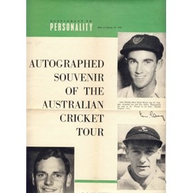 "AUTOGRAPHED SOUVENIR OF THE AUSTRALIAN CRICKET TOUR: SUPPLEMENT TO ""PERSONALITY"", ISSUE OF JANUARY 30, 1958"