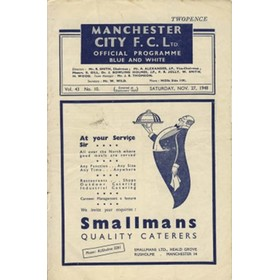 MANCHESTER CITY V DERBY COUNTY 1948/49 FOOTBALL PROGRAMME