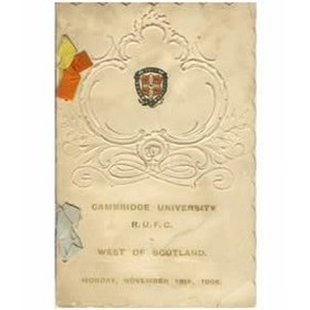 CAMBRIDGE UNIVERSITY RUFC V WEST OF SCOTLAND 1906