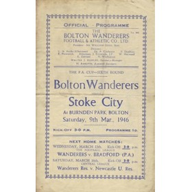 BOLTON WANDERERS V STOKE CITY 1945/46 (BURNDEN PARK TERRACE DISASTER) FOOTBALL PROGRAMME