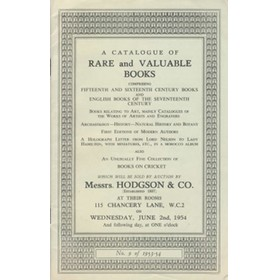 CATALOGUE OF RARE AND VALUABLE BOOKS OFFERED BY MESSRS HODGSON & CO. 1954