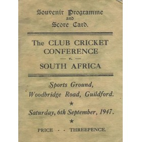 CLUB CRICKET CONFERENCE V SOUTH AFRICA 1947 SCORECARD