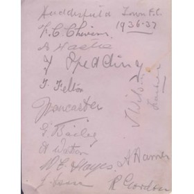 HUDDERSFIELD TOWN 1936-37 SIGNED ALBUM PAGE