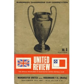 MANCHESTER UNITED V HIBERNIANS OF MALTA 1967/68 (EUROPEAN CUP) FOOTBALL PROGRAMME
