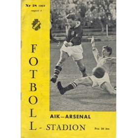 A.I.K. STOCKHOLM V ARSENAL 1957 (FRIENDLY) FOOTBALL PROGRAMME