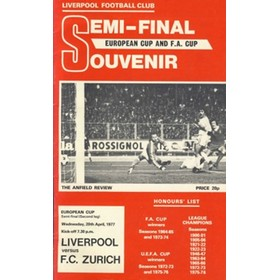 LIVERPOOL V F.C. ZURICH 1976/77 (EUROPEAN CUP SEMI-FINAL) FOOTBALL PROGRAMME